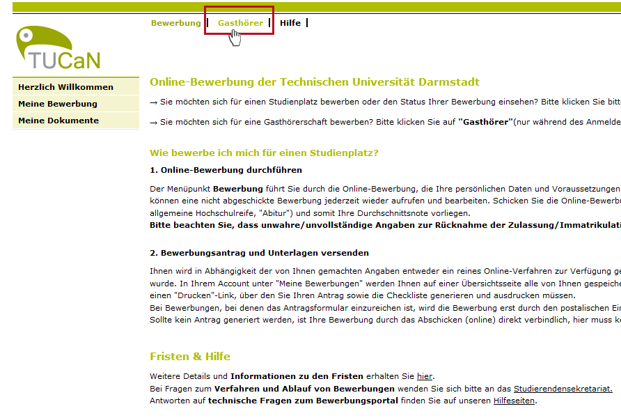 Bewerbunganmeldung Als Gasthörer Technische Universität Darmstadt