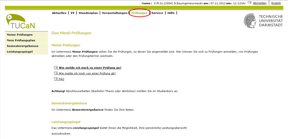 Anmeldung zur Prüfung – Technische Universität Darmstadt